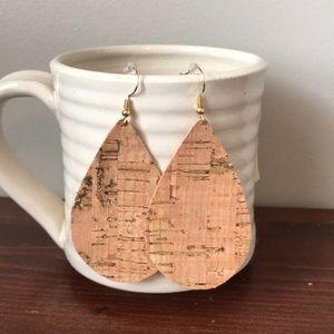 Classic cork and gold teardrop earring